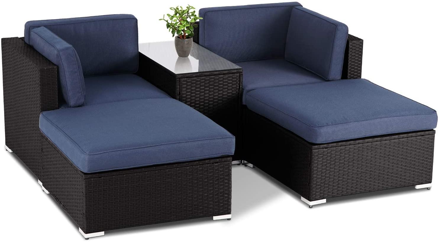 suncrown 5 piece outdoor patio lounge chair ottoman furniture set brown wicker sofa and glass coffee table dark blue cushion