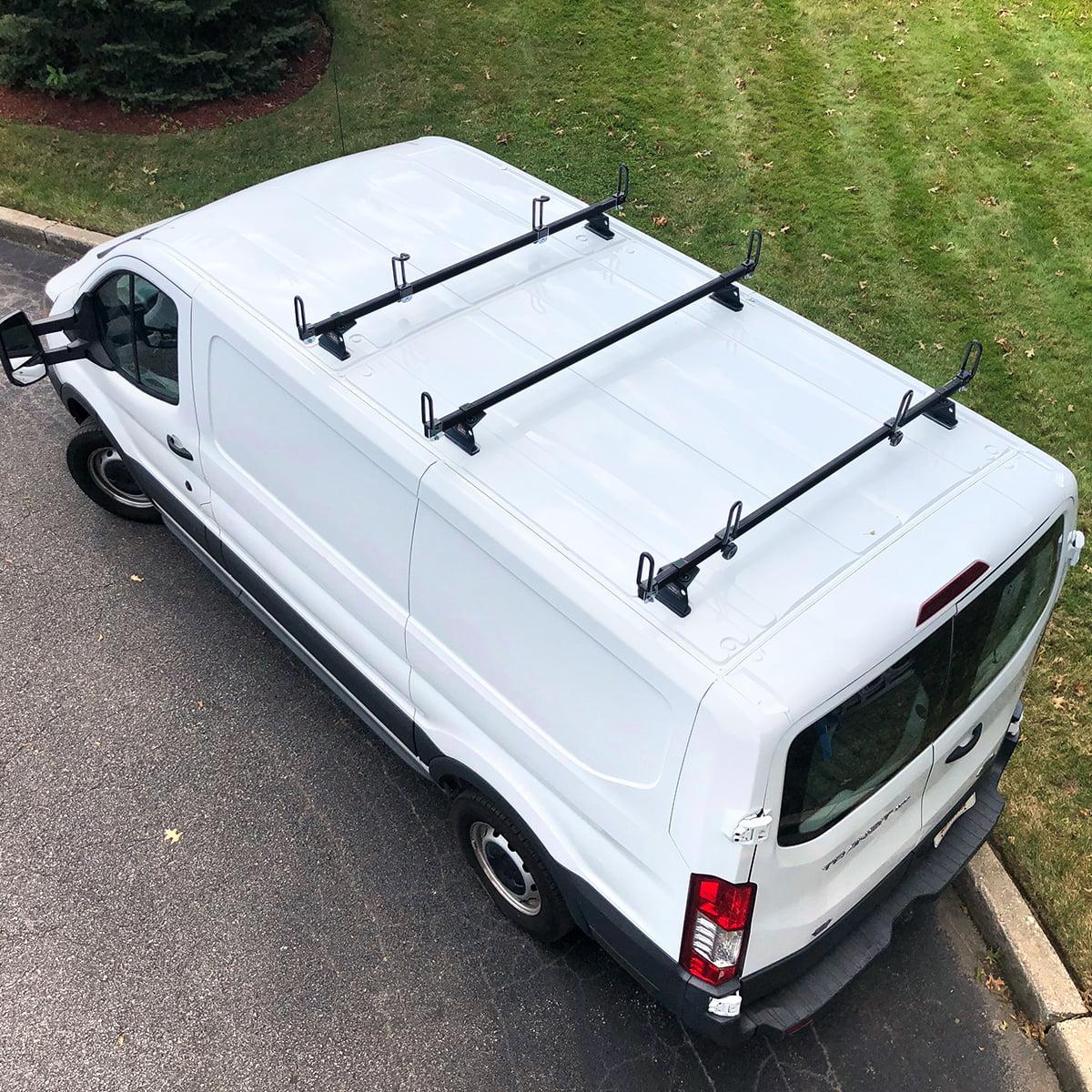 vantech heavy duty 3 bar ladder roof rack fits transit cargo van low roof black walmart com