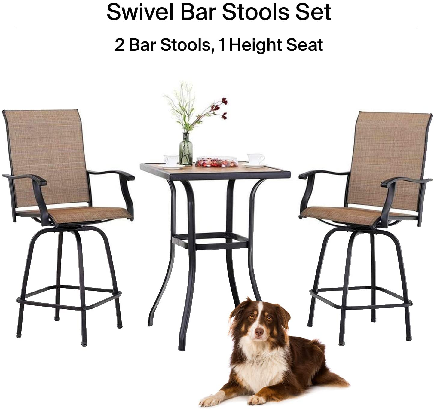 ella outdoor bar high bistro set 3 piece patio set patio table and bar chairs