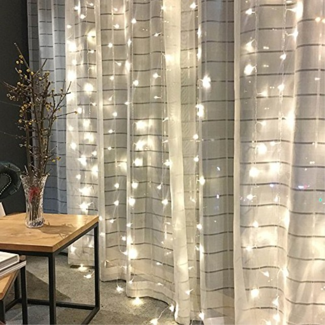 twinkle star 300 led window curtain string light for wedding party home garden bedroom outdoor indoor wall christmas decoration white