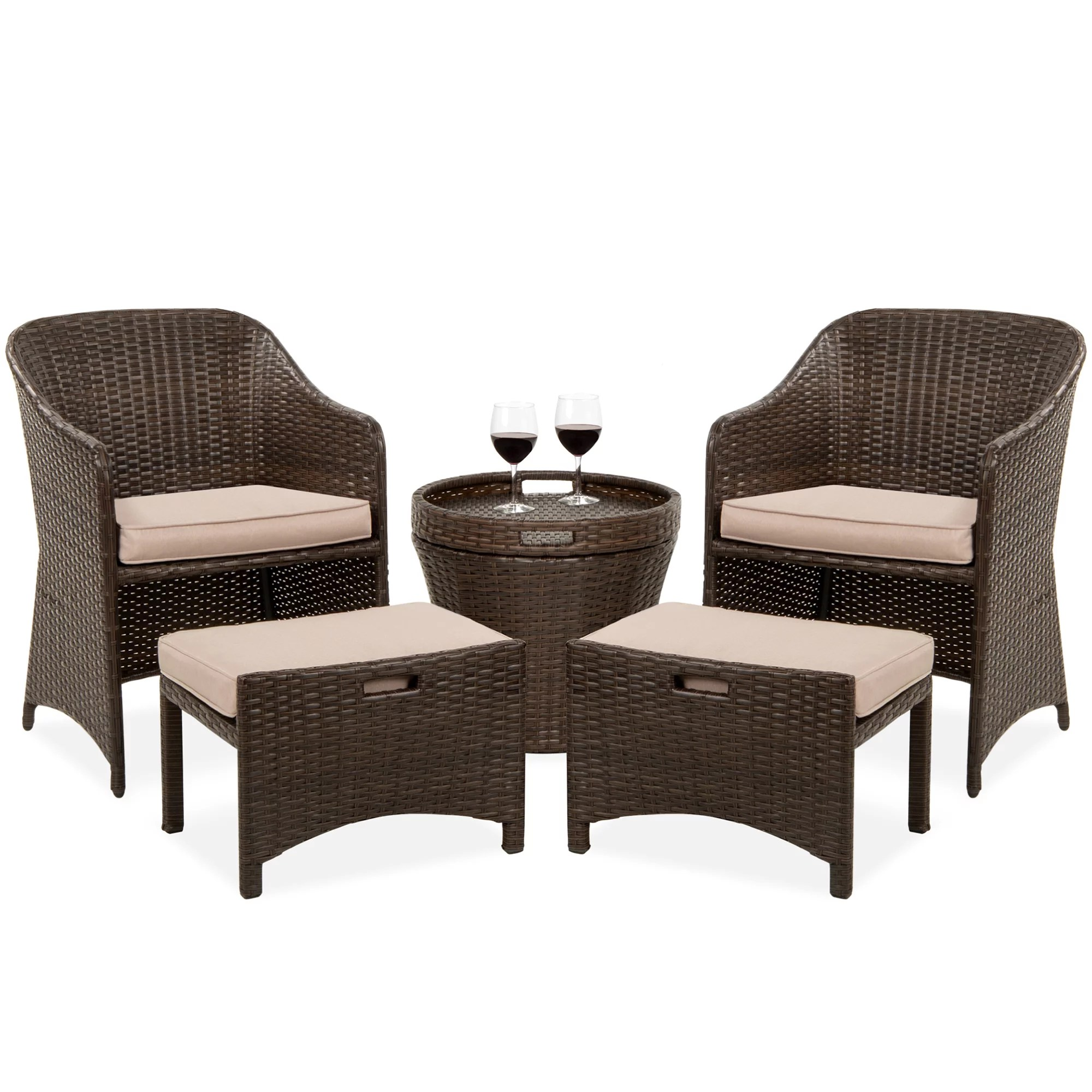 best choice products 5 piece outdoor wicker patio bistro space saving furniture set w storage table no assembly brown