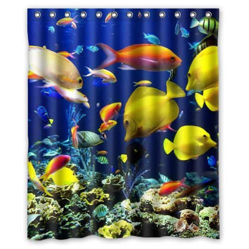 bpbop tropical fish shower curtain 60x72 inches