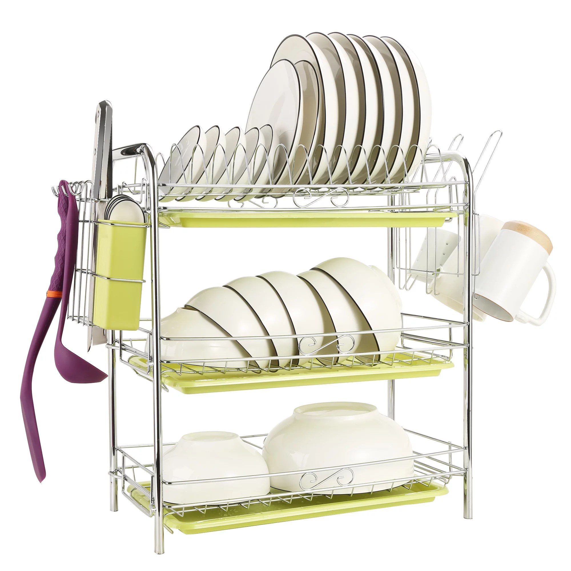 odoland 3 tiers dish drying rack 3 tier chrome dish drainer rack kitchen storage with draining board and cutlery cup 22 04 x 9 05 x 18 50 in