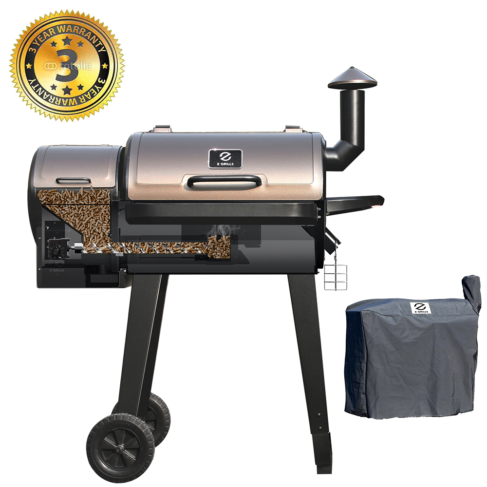 Z Grills ZPG-450A 2020 Upgrade Model Wood Pellet Grill & Smoker, 6 in 1 BBQ Grill Auto Temperature Control, 450 sq Inch Deal, Bronze & Black Cover Included