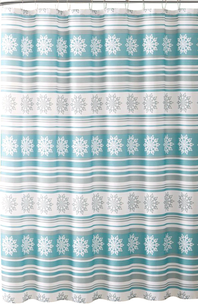 winter christmas holiday decorative snowflake striped shower curtain for bathroom blue gray white