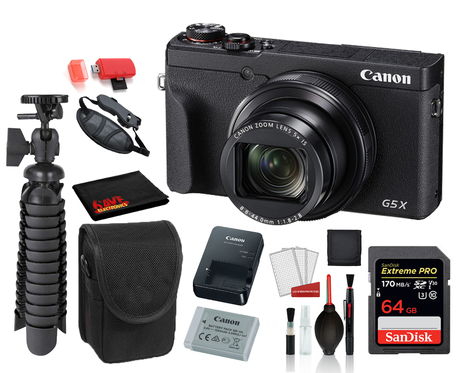 Canon PowerShot G5 X Mark II Digital Camera (3070C001) with Accessory Bundle package deal ' SanDisk 64gb Extreme Pro SD card + Camera Case + 12' Tripod + MORE