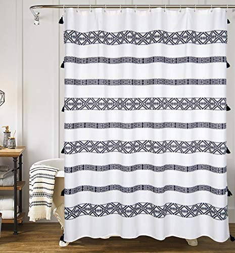 yokii tassel fabric shower curtain black and cream striped fringe boho polyester bath curtain set hotel spa heavy weighted 78 inch extra long
