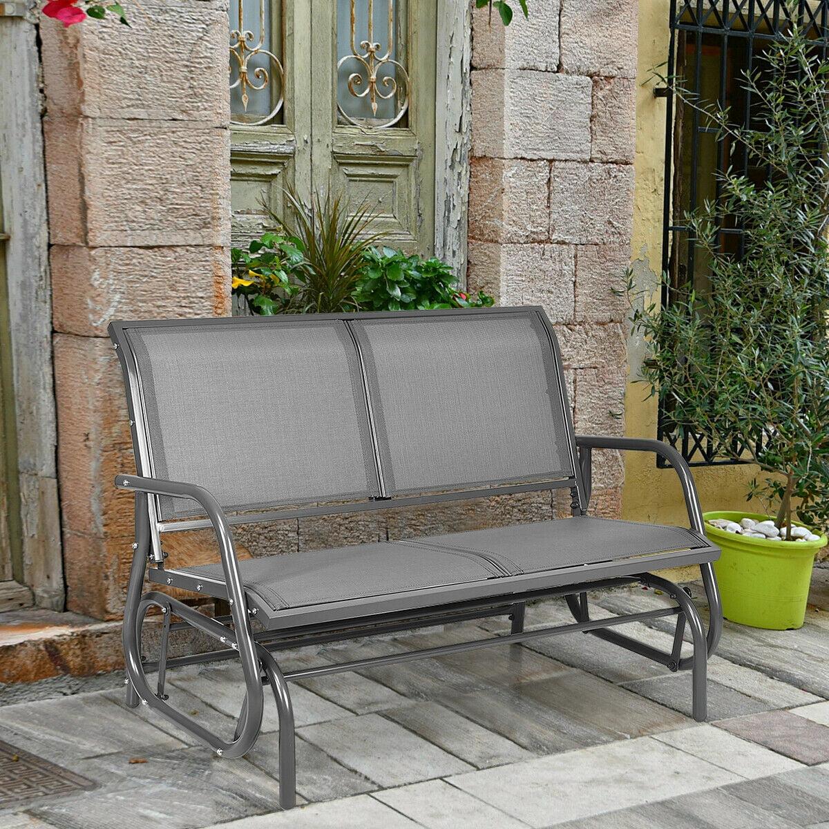 gymax 48 outdoor patio swing glider bench chair loveseat rocker lounge backyard grey