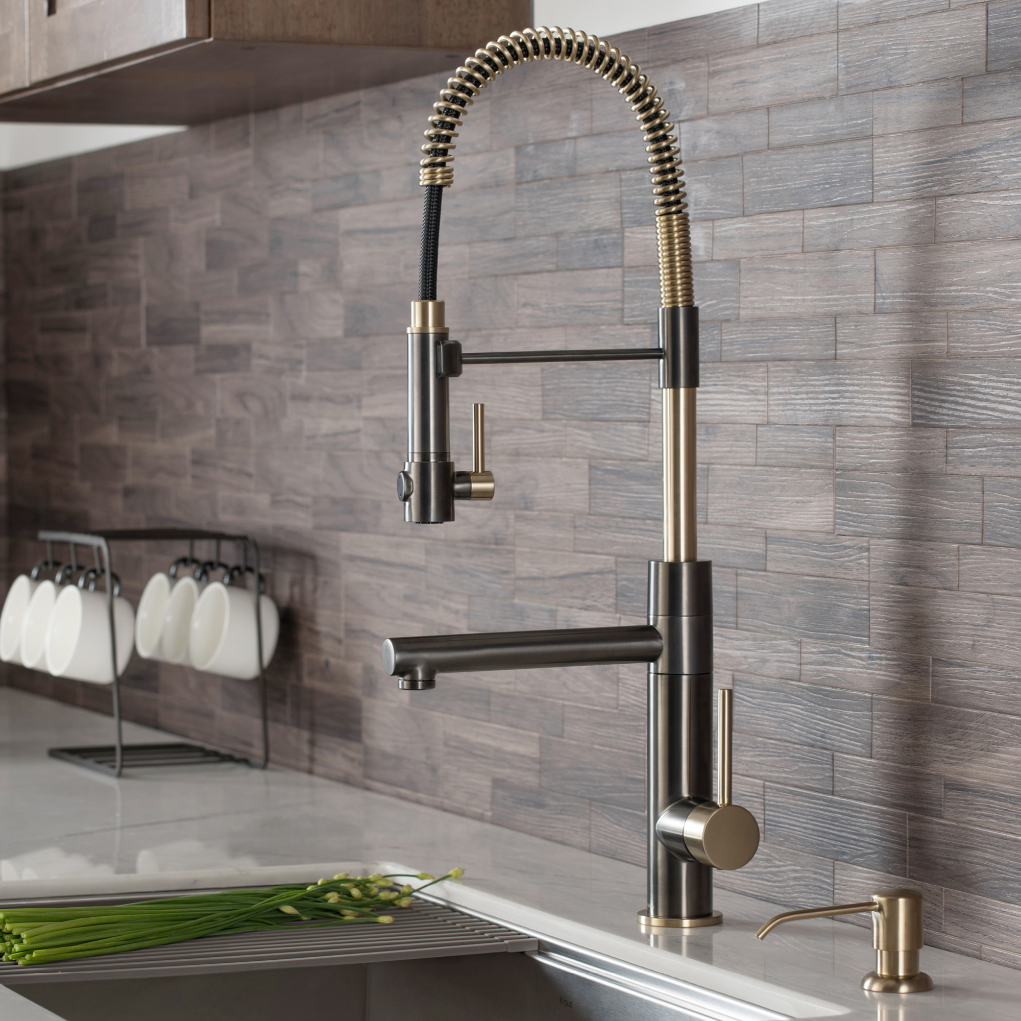 kraus artec pro 2 function commercial style pre rinse kitchen faucet with pull down spring spout and pot filler black stainless steel brushed gold