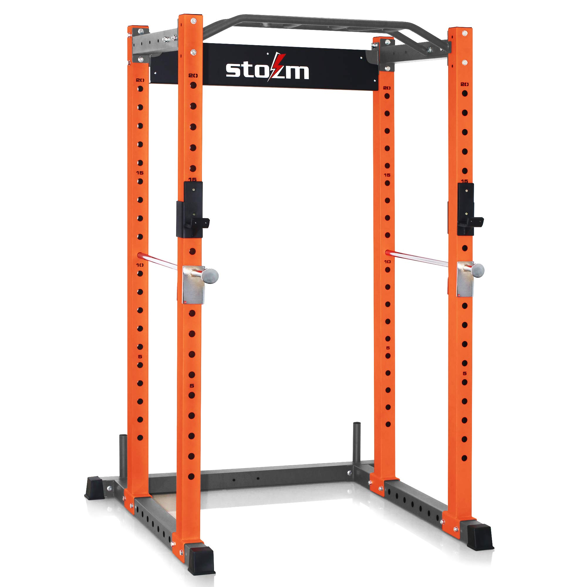 stozm 3 x3 multi functional squatting rack power rack supports 1100lbs orange grey package includes a pull up bar j hooks safety bar catches