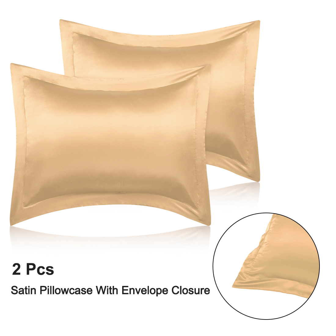 piccocasa silky satin boudoir pillowcases 2pcs 12x16 inch gold walmart com
