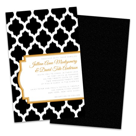 Personalized Black And Gold Moroccan Wedding Invitations