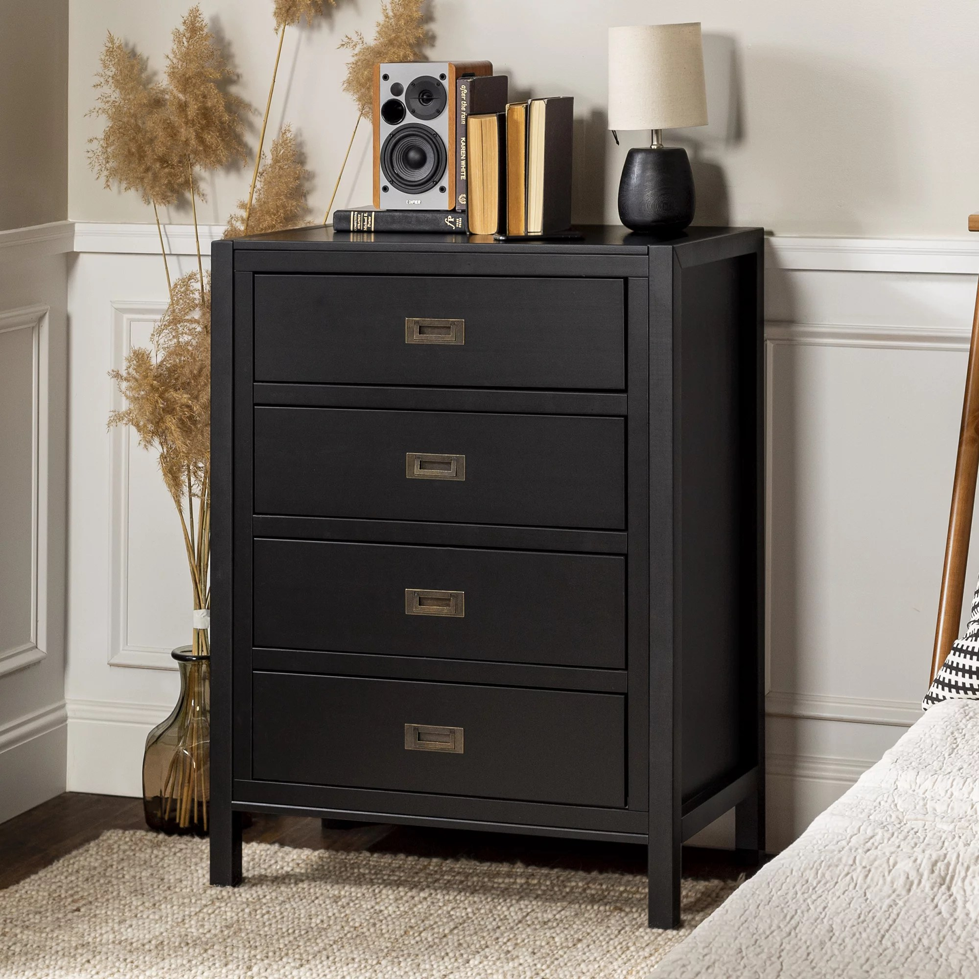 annabelle four drawer solid wood black dresser by chateau lyon