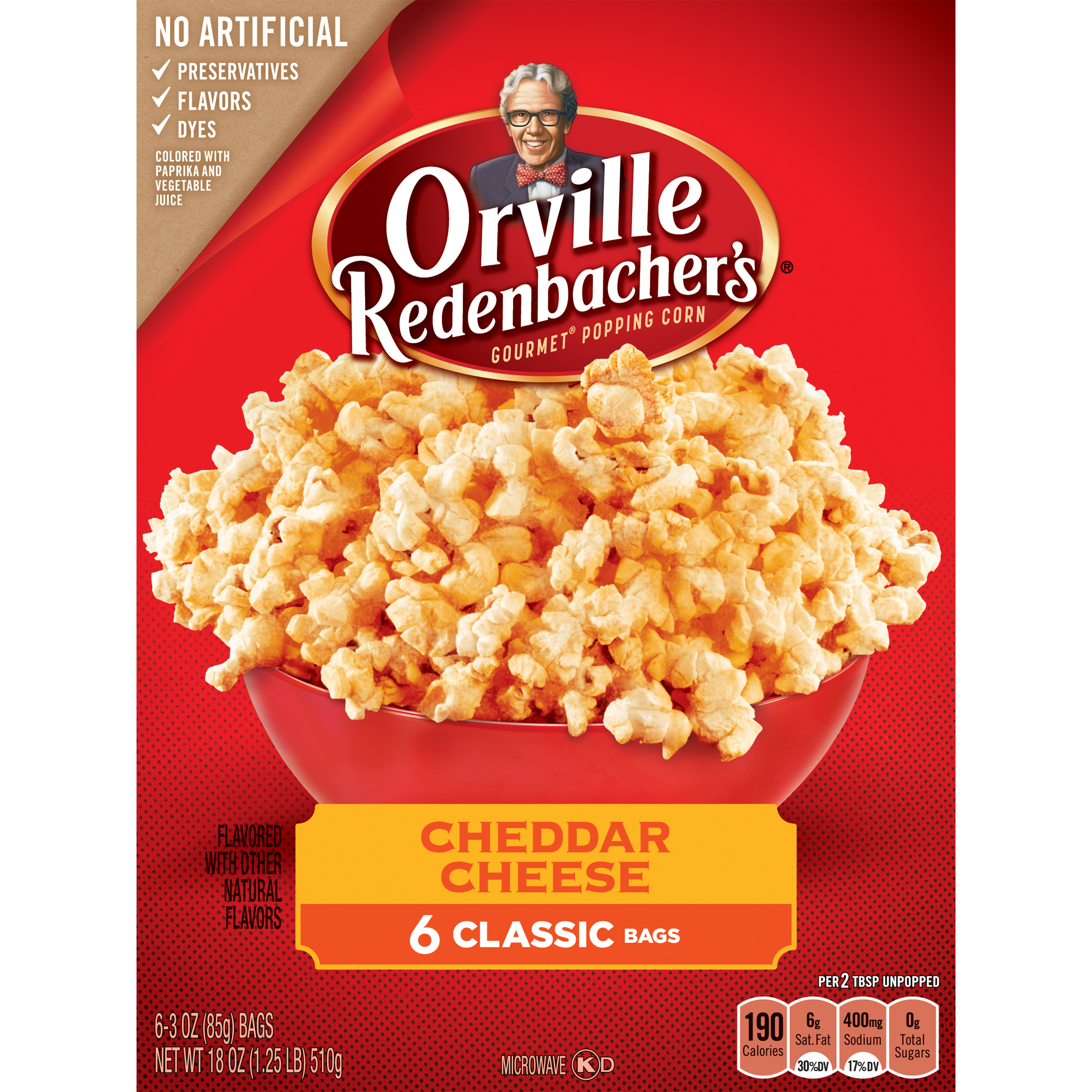 orville redenbacher s cheddar cheese microwave popcorn 3 29 oz 6 ct