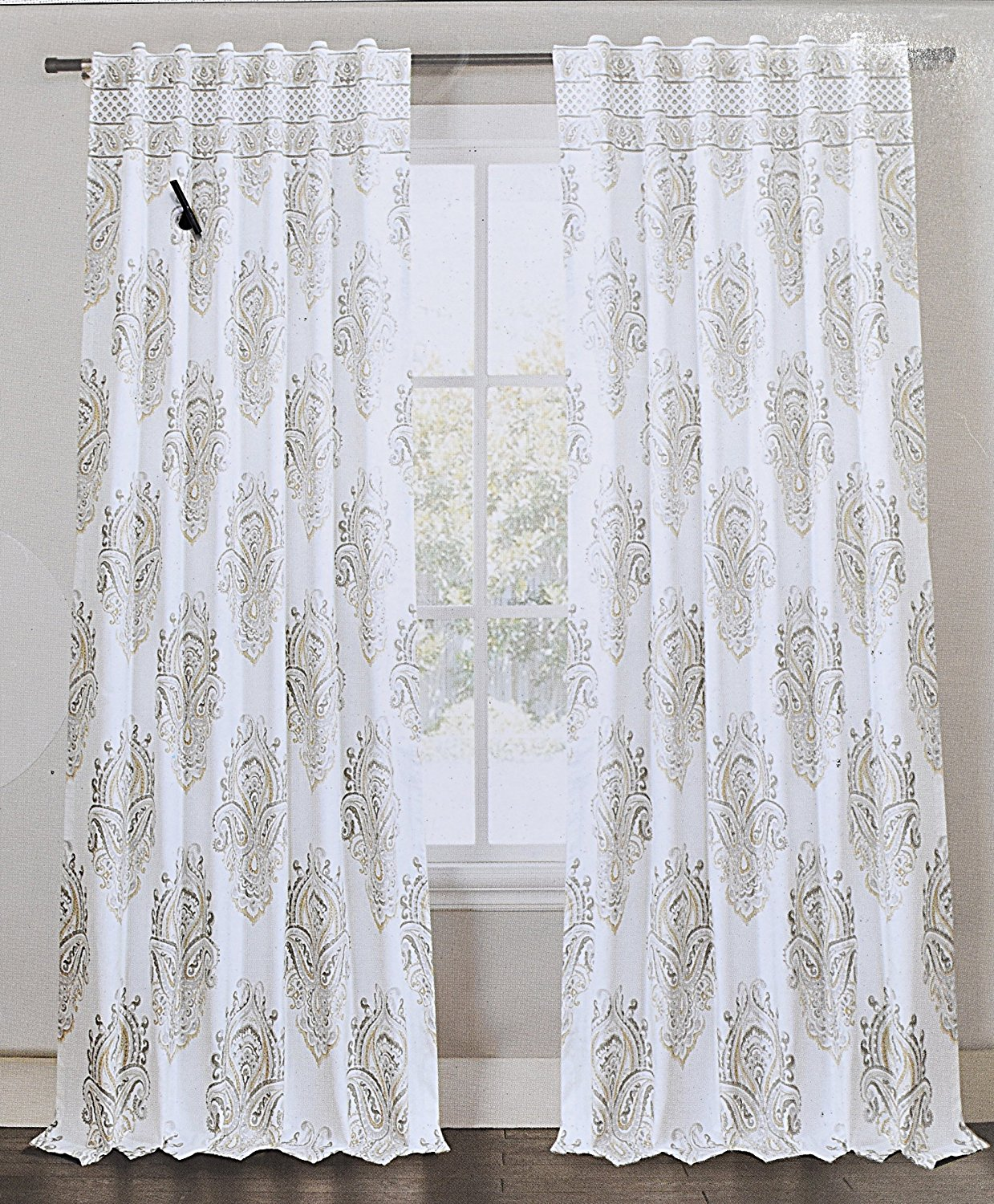 Envogue Medallion Window Curtains Gray Taupe Torino Damask Paisley Pair Of Curtains 2 Window