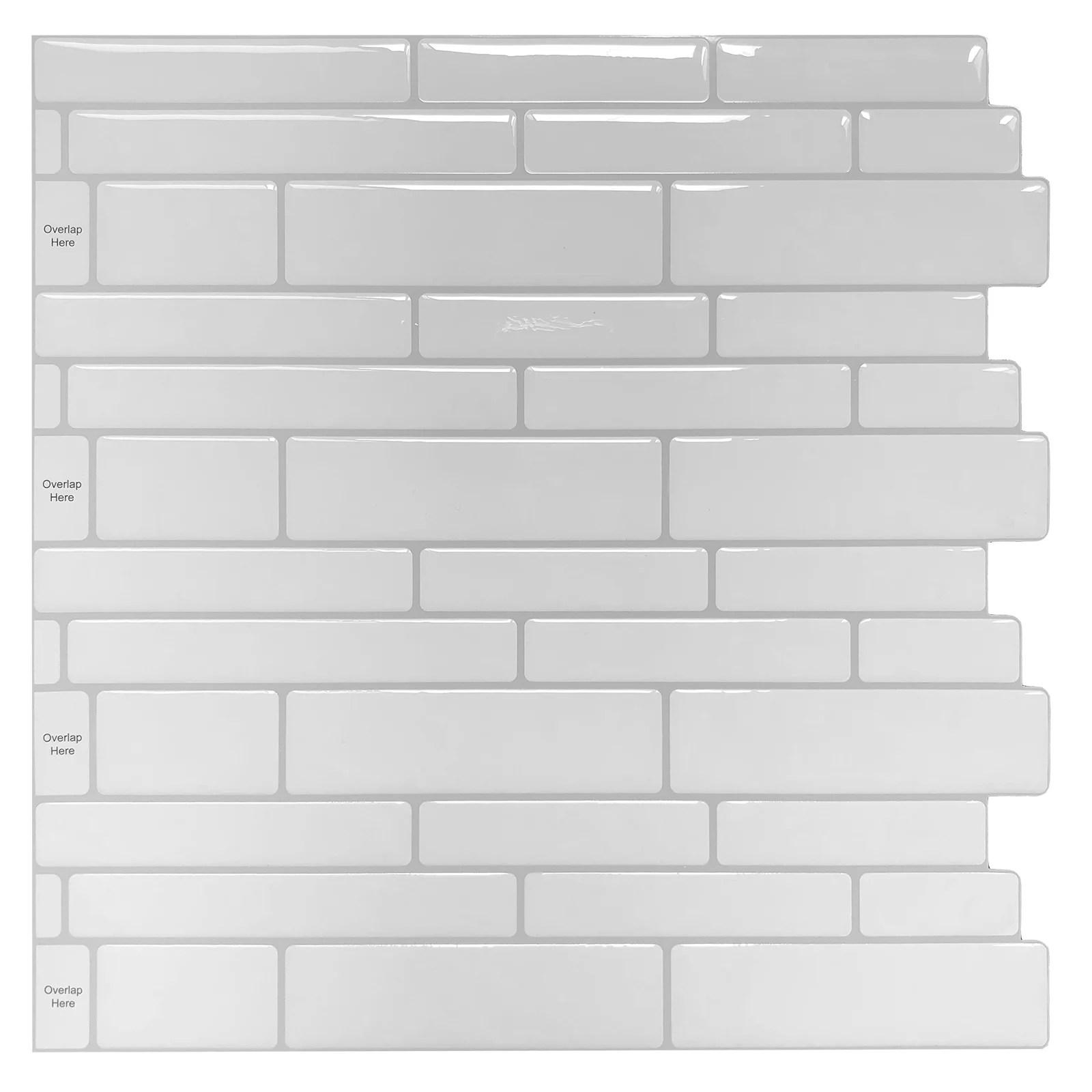 longking peel and stick backsplash tile white subway wall tile 12 in x 12 in 10 pack walmart com