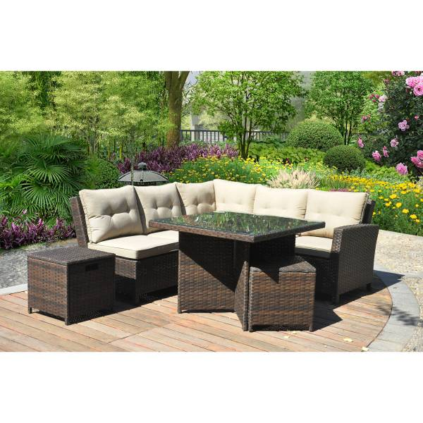 walmart wicker patio furniture sets Hampton 5 Piece Outdoor Wicker Patio Furniture Set 05b