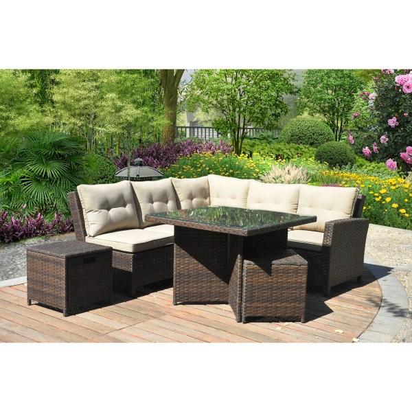 outdoor wicker furniture 5 piece patio set Hampton 5 Piece Outdoor Wicker Patio Furniture Set 05b