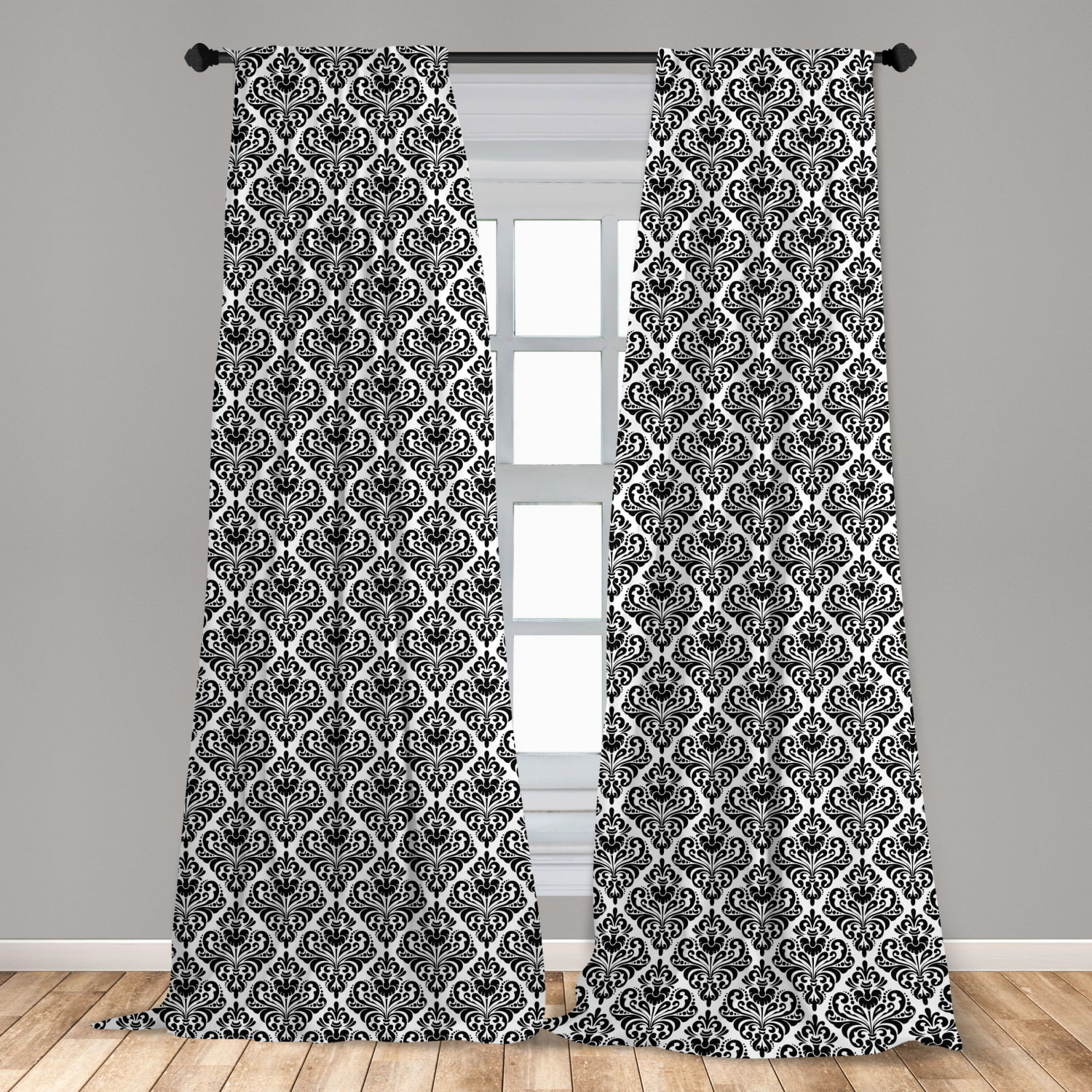 damask curtains 2 panels set symmetrical damask motif with floral elements flowers and leaves with curves image window drapes for living room