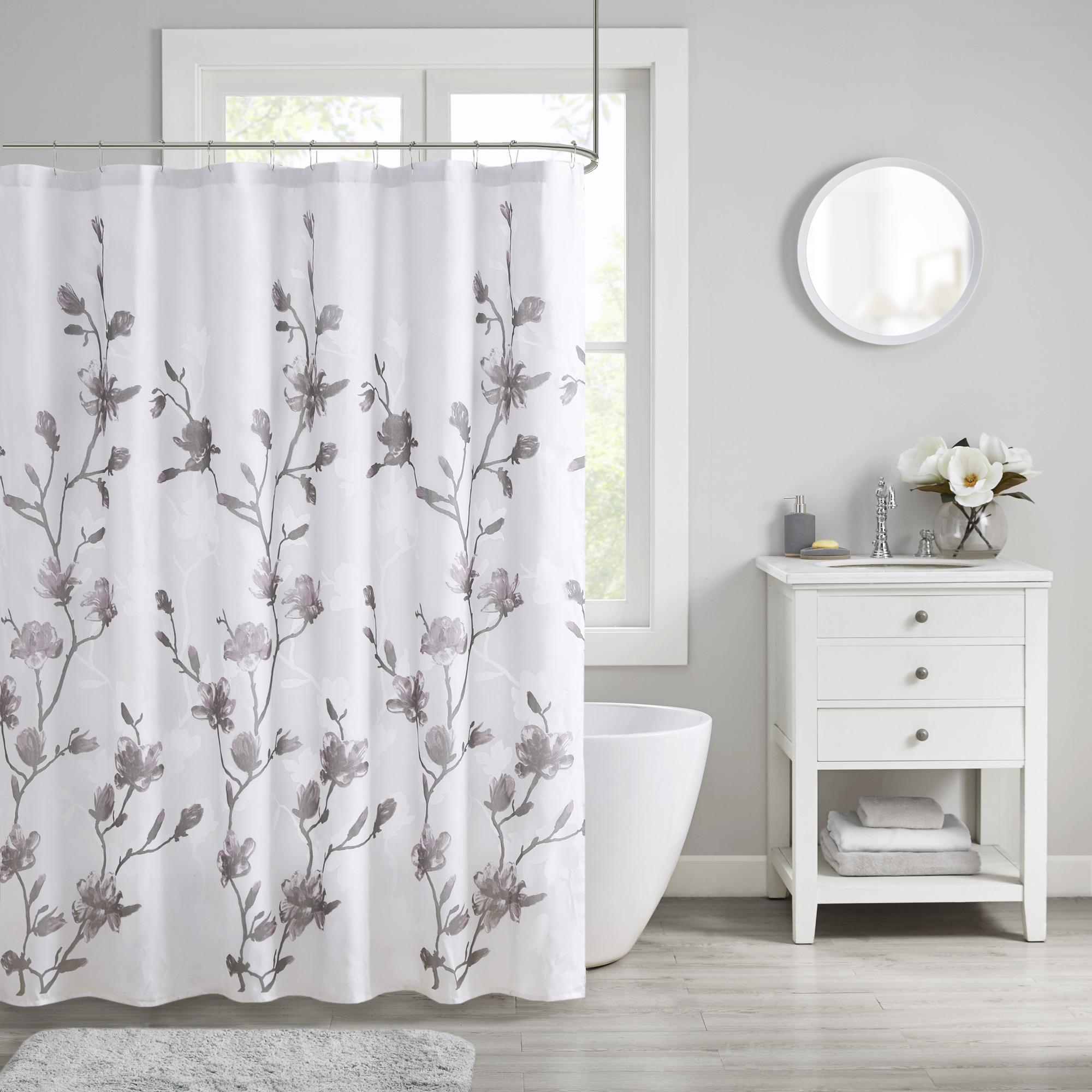 home essence anise floral printed burnout shower curtain