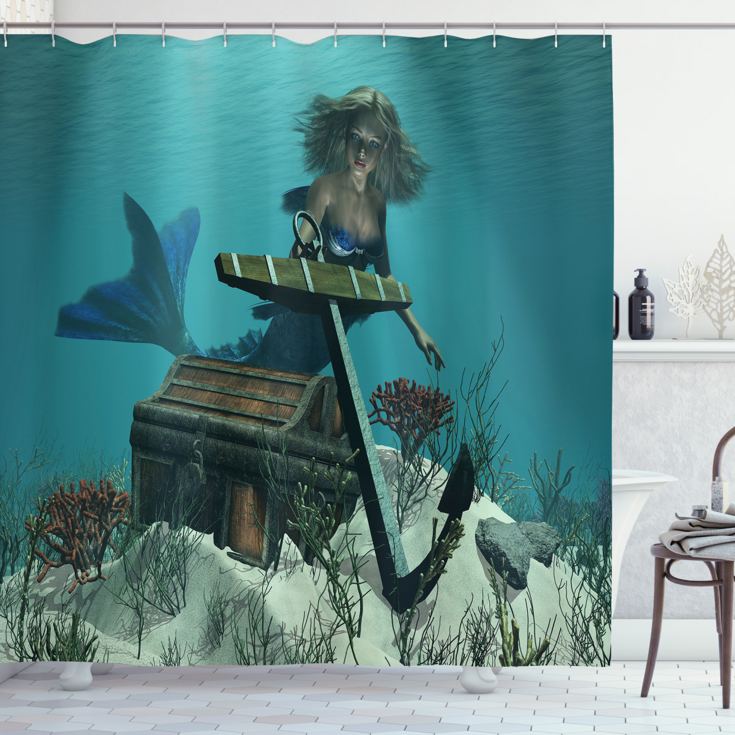 mermaid shower curtain mermaid in ocean sea discovering pirate s treasure chest mythical art print fabric bathroom set with hooks azure brown