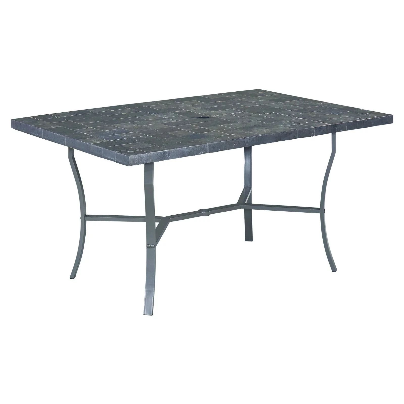 home styles cumberland stone 60 in rectangular slate tile top patio dining table