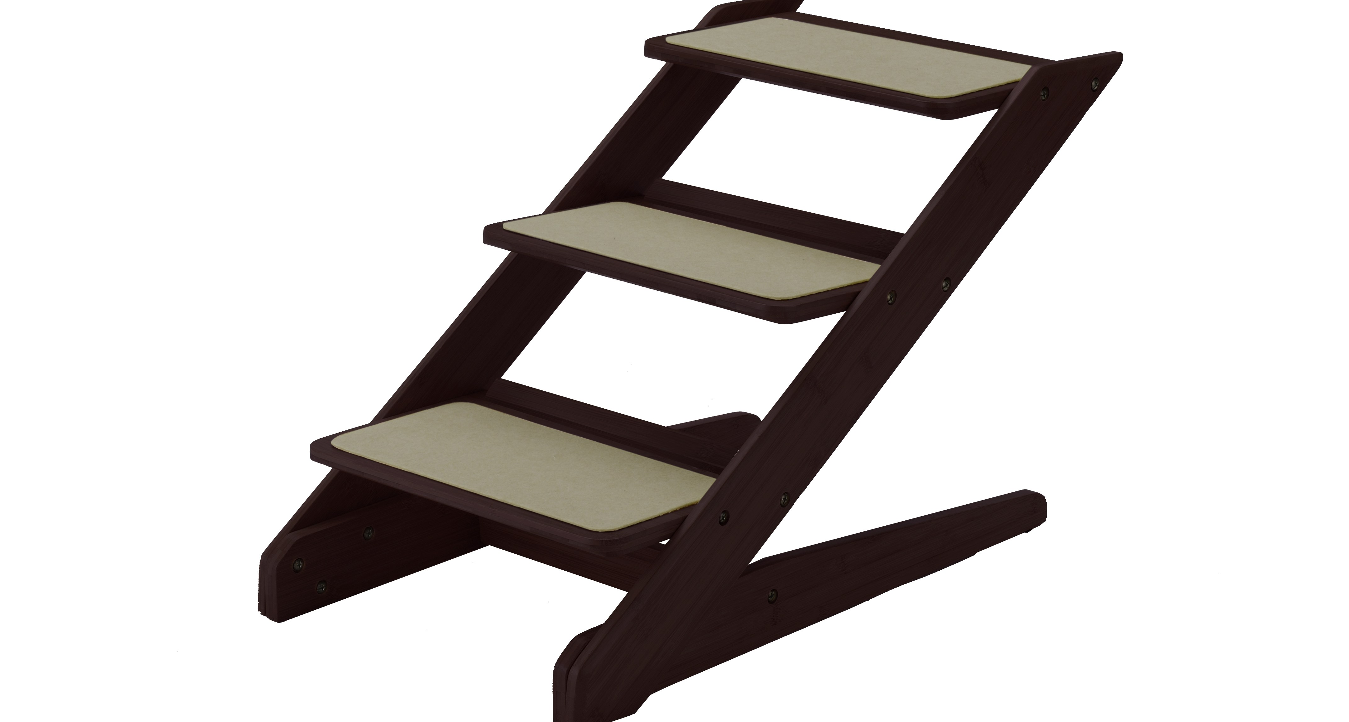 Richell 3 Step Lightweight Wooden Dog Steps Rich Mahogany 15 L X   3 Step Wooden Stairs   2 Step   Easy   Stringer   Tread   Outside
