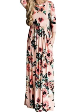 Women Sexy Maxi Dress 3/4 Sleeve Evening Gown Floral Print Dress