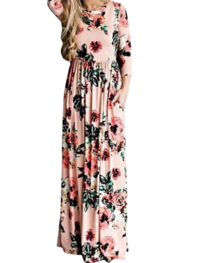 Women Sexy Maxi Dress 3/4 Sleeve Evening Gown Floral Print Dress