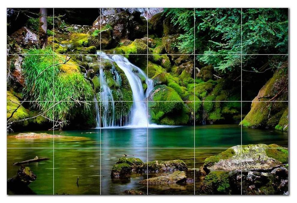 waterfall picture ceramic tile mural kitchen backsplash bathroom shower 406208