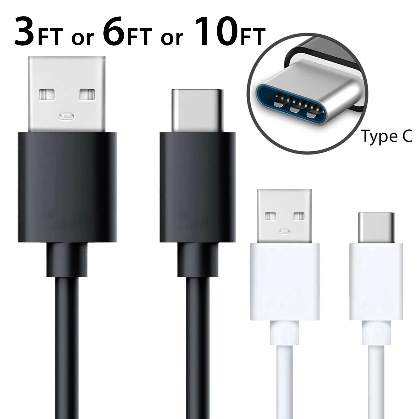 Afflux USB Type C Fast Charging Cable 10FT USB-C Type-C 3.1 Data Sync Charger Cable Cord For Samsung Galaxy S8 S8+ Note 8 Nexus 5X 6P OnePlus 2 3 5 LG G5 G6 V20 HTC 10 Google Pixel XL White