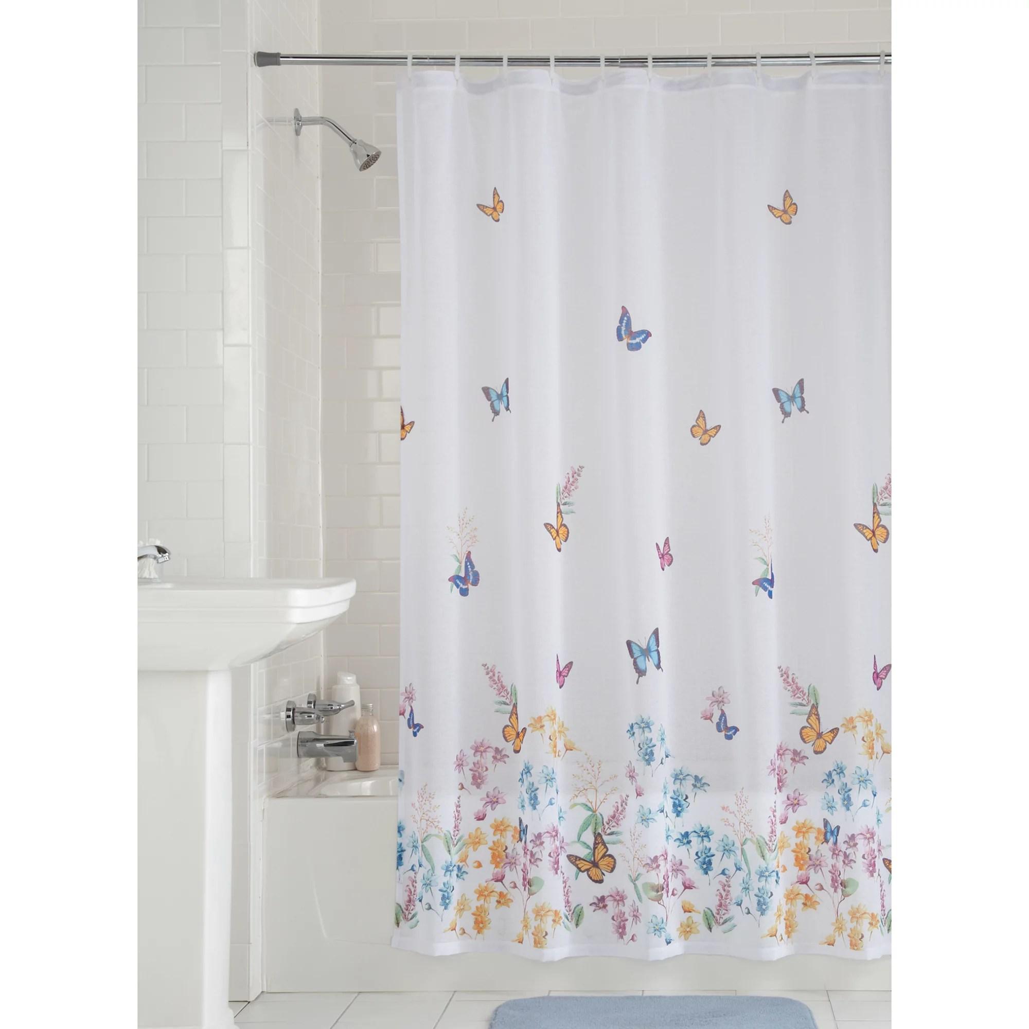 mainstays butterfly semi sheer fabric shower curtain 70 x 72 walmart com