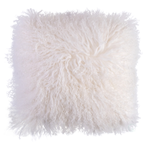 genuine mongolian lamb fur sheepskin 16 in square pillow cover with cushion white