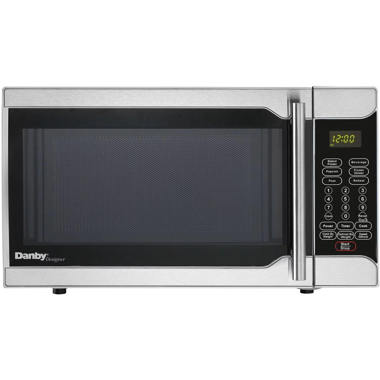 danby designer 0 7 cu ft 700w countertop microwave oven in stainless steel walmart com walmart com