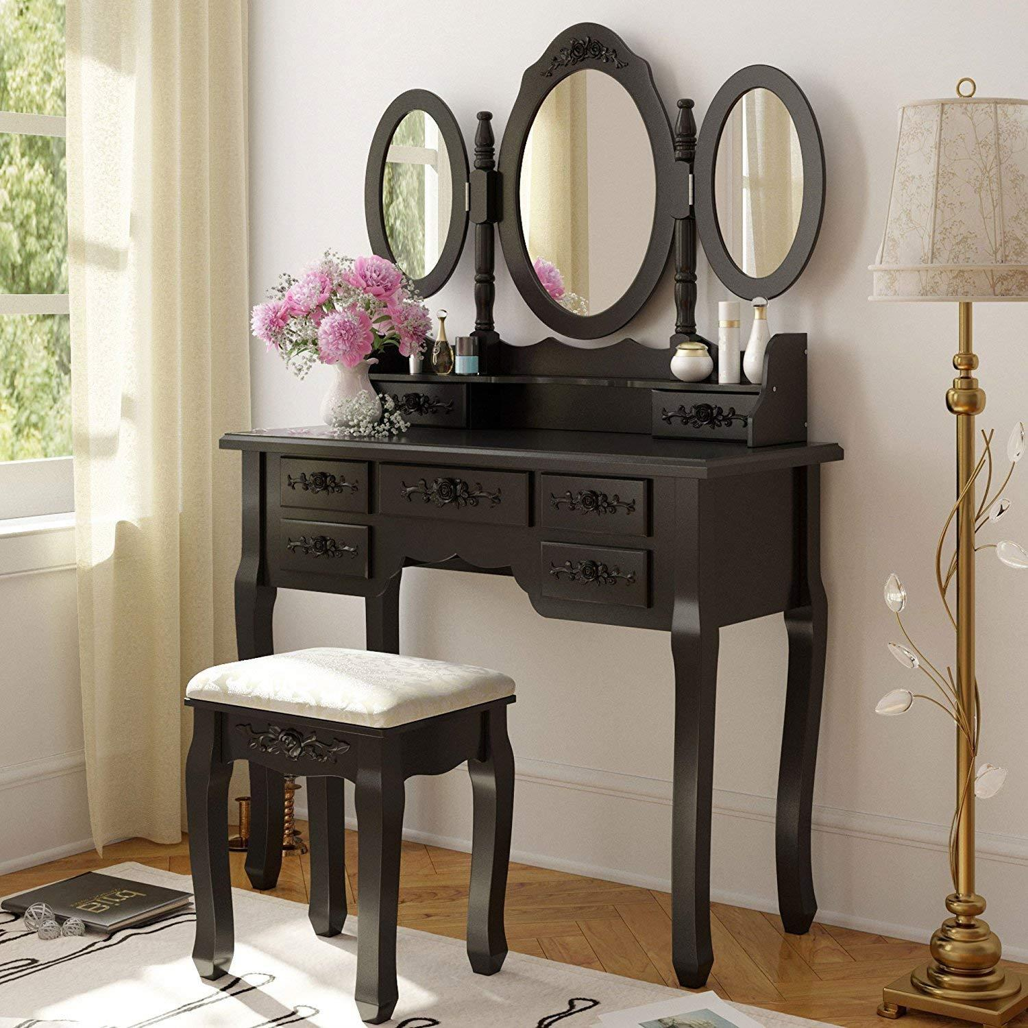 Ktaxon Vanity Table Make Up Table Set W Stool 7 Drawer 3 Mirrors Fold Black Walmart Com Walmart Com