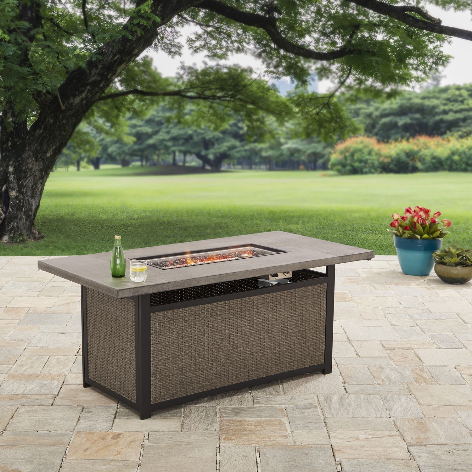 better homes and gardens 60 bristol rectangular propane gas fire pit table