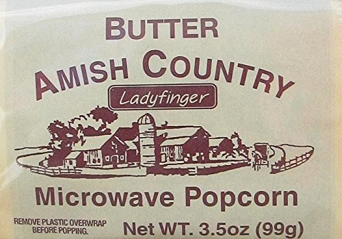 amish country microwave popcorn gourmet hulless ladyfinger butter 10 bags