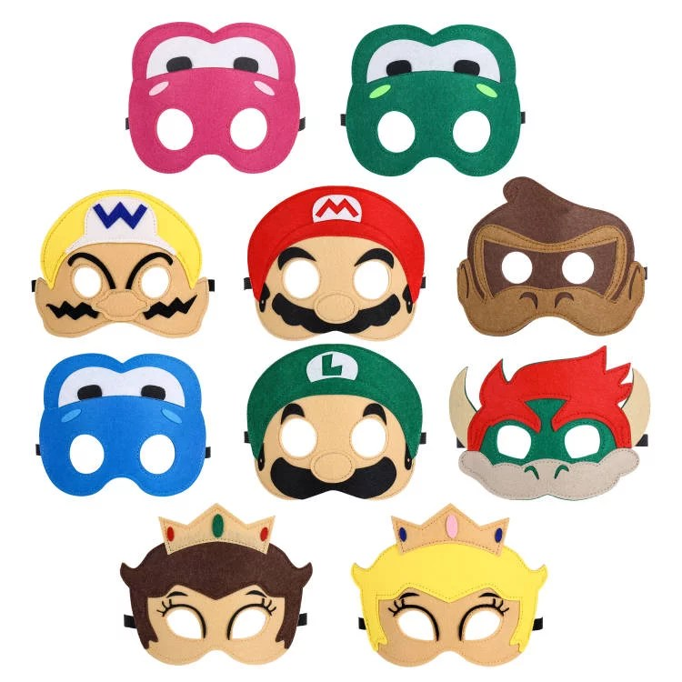 10 felt masks for your inspired super mario birthday party dress up pretend play party favor gift halloween donkey kong yoshi mario lugio