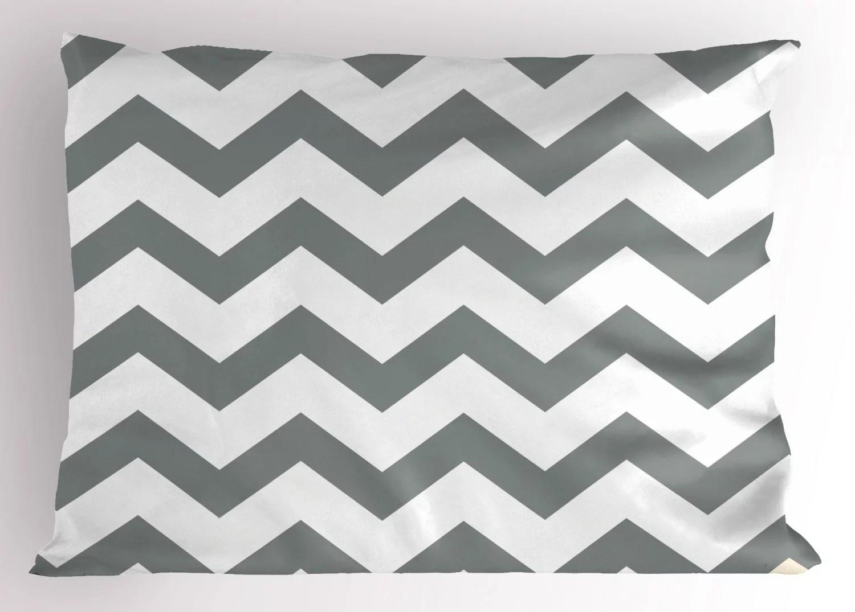 grey pillow sham grey and white chevron pattern classic geometrical horizontal zig zag stripes retro decorative standard size printed pillowcase 26