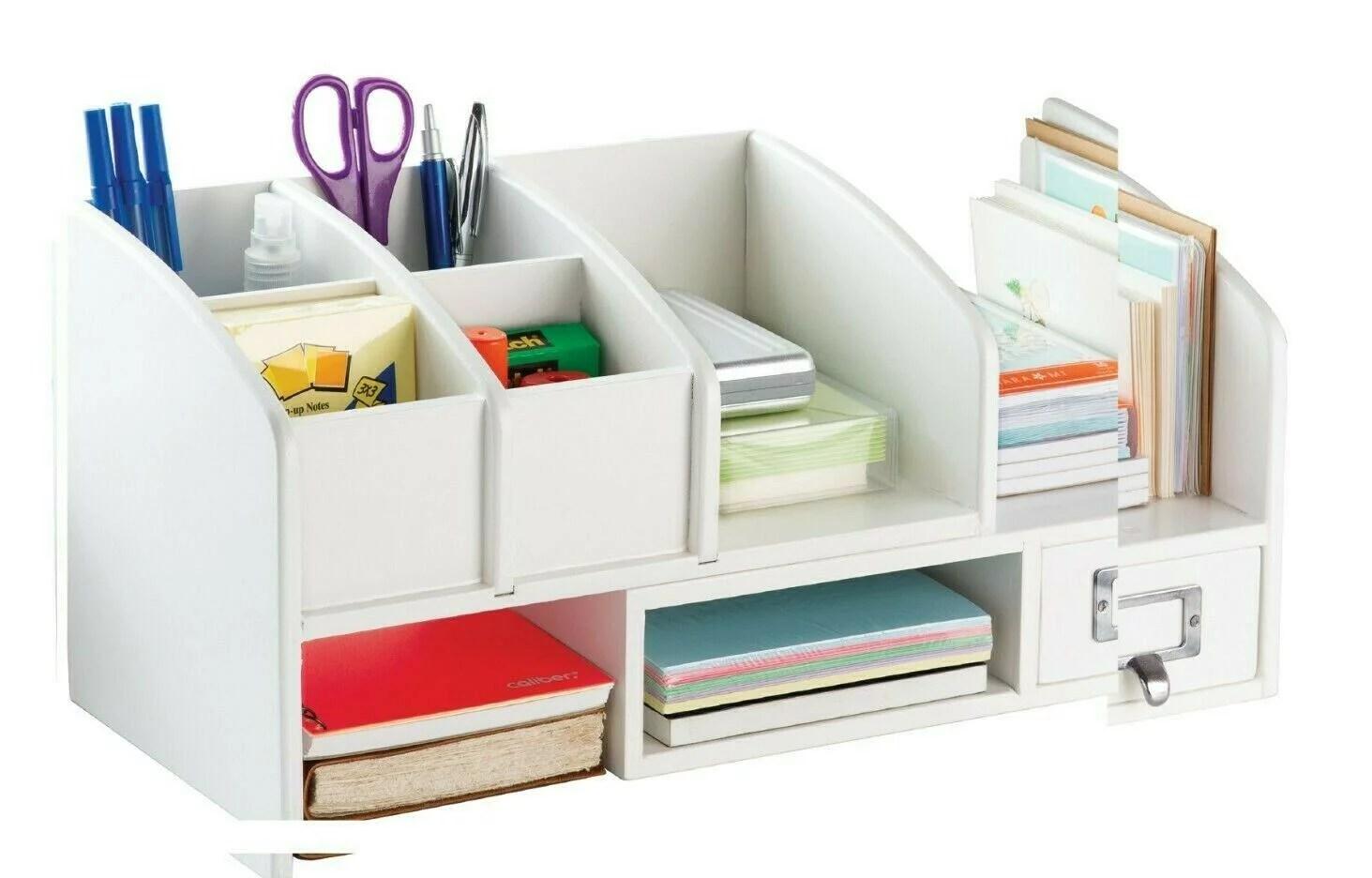 wood desk organizer shelf and drawers expandable for book file shelves desktop organization