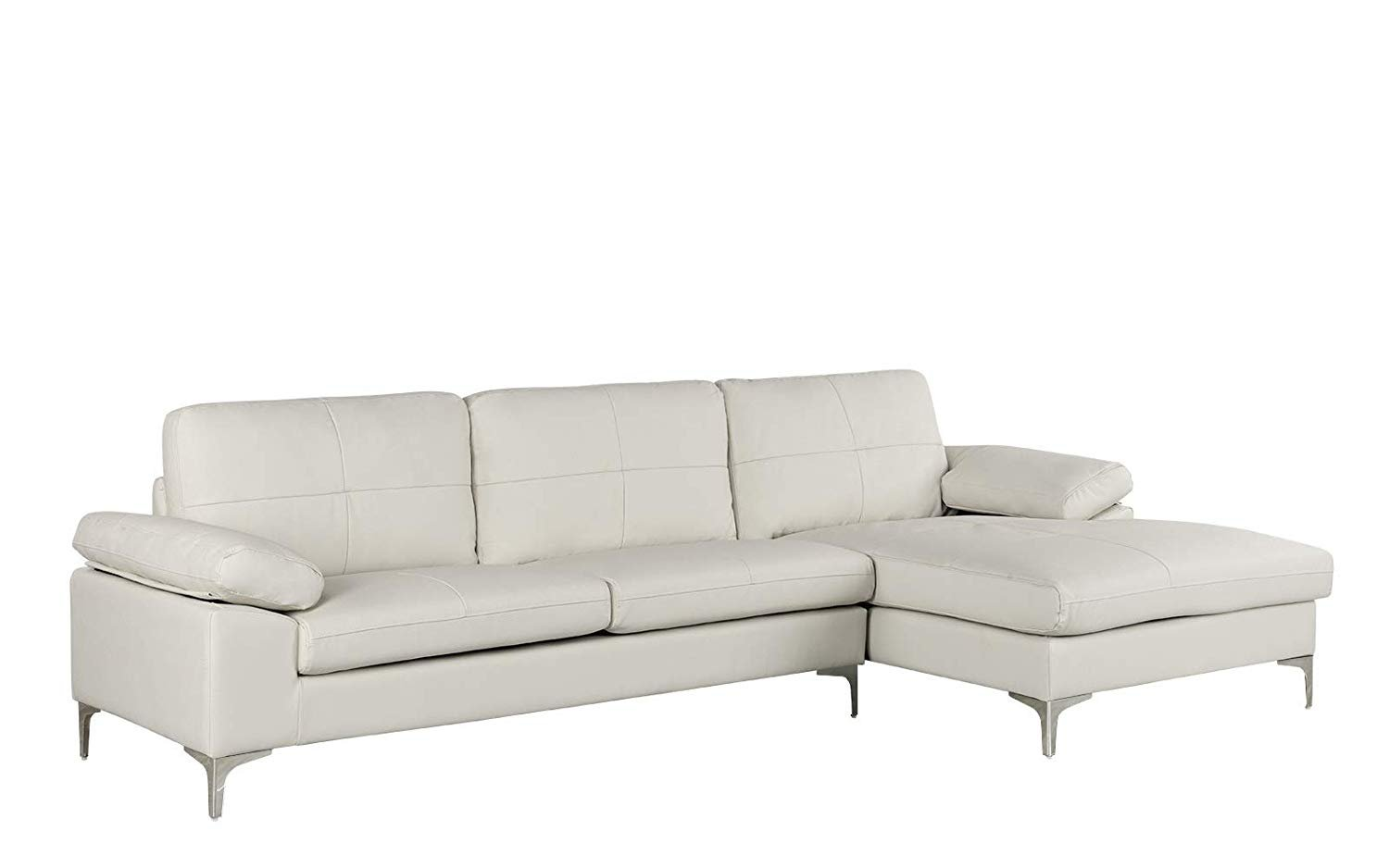 leather sectional sofa l shape couch with chaise 108 7 w inches white