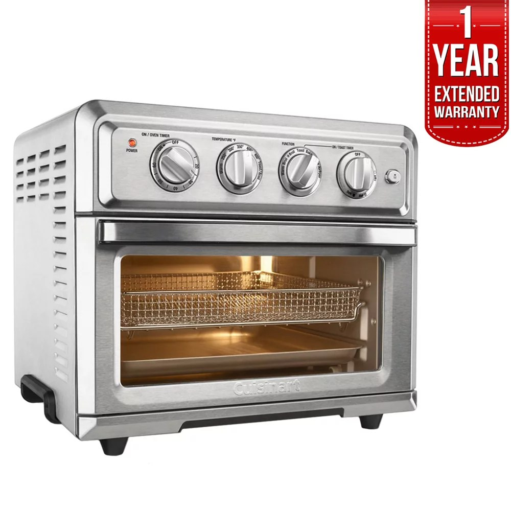 cuisinart toa 60 convection toaster oven air fryer with light silver w 1 year extended warranty