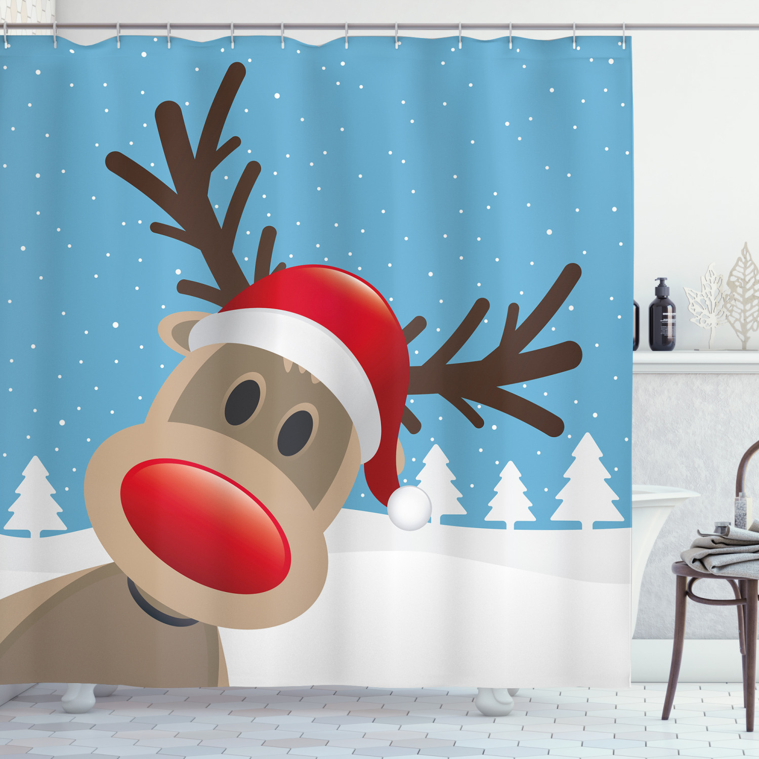 christmas shower curtain reindeer rudolph with red nose and santa claus hat snowy forest fabric bathroom set with hooks pale blue red pale brown