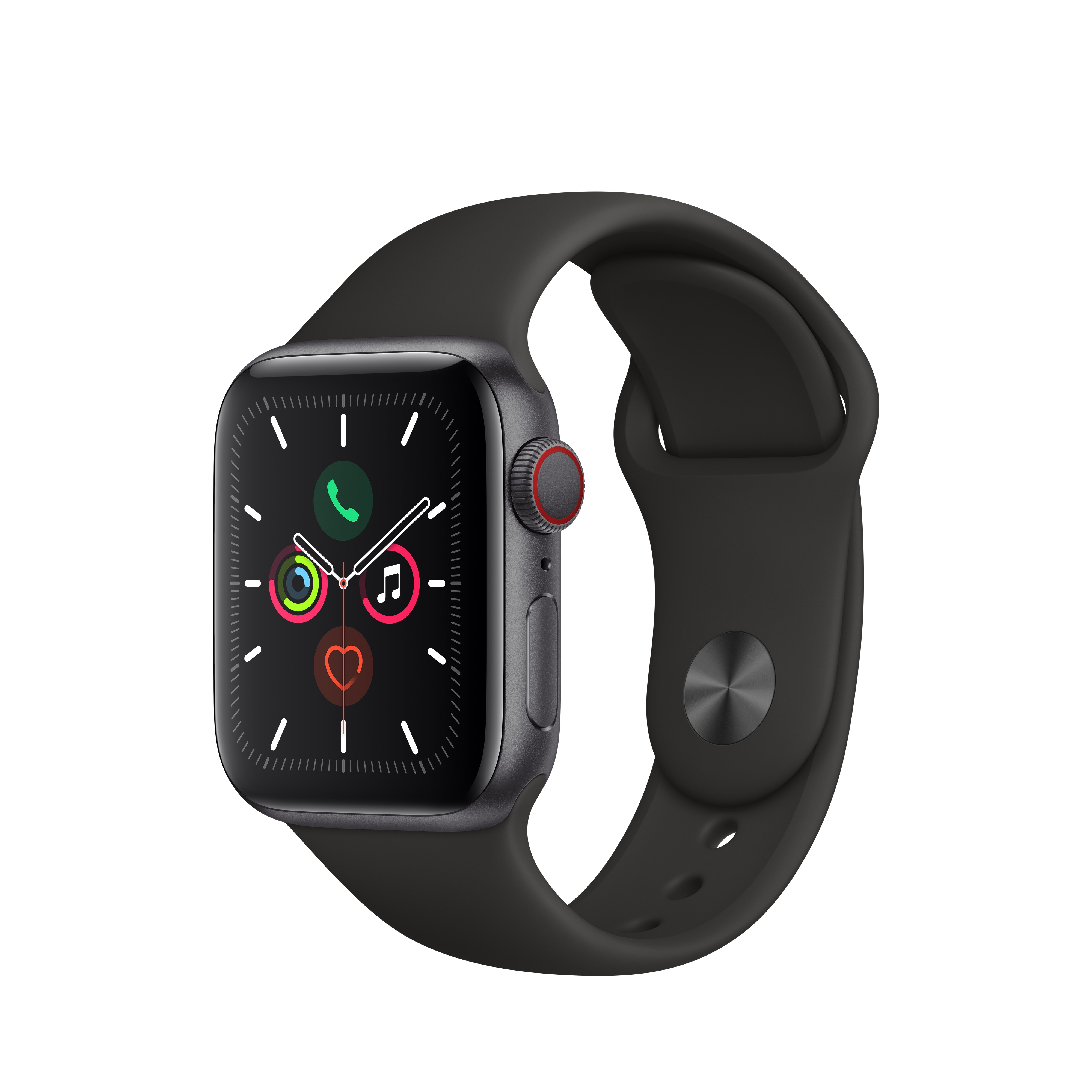 Apple Watch Series 5 GPS + Cellular, 40mm Space Gray Aluminum Case with Black Sport Band – S/M & M/L