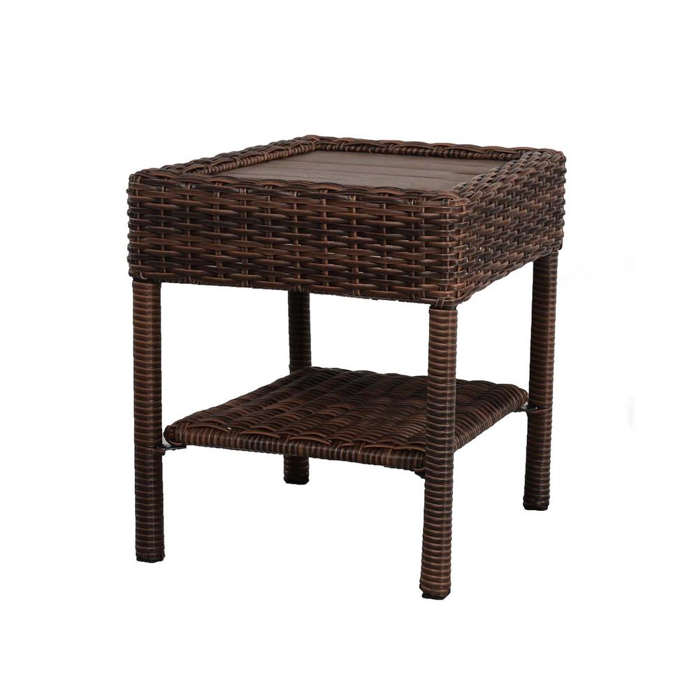 hampton bay cambridge brown wicker square outdoor side table