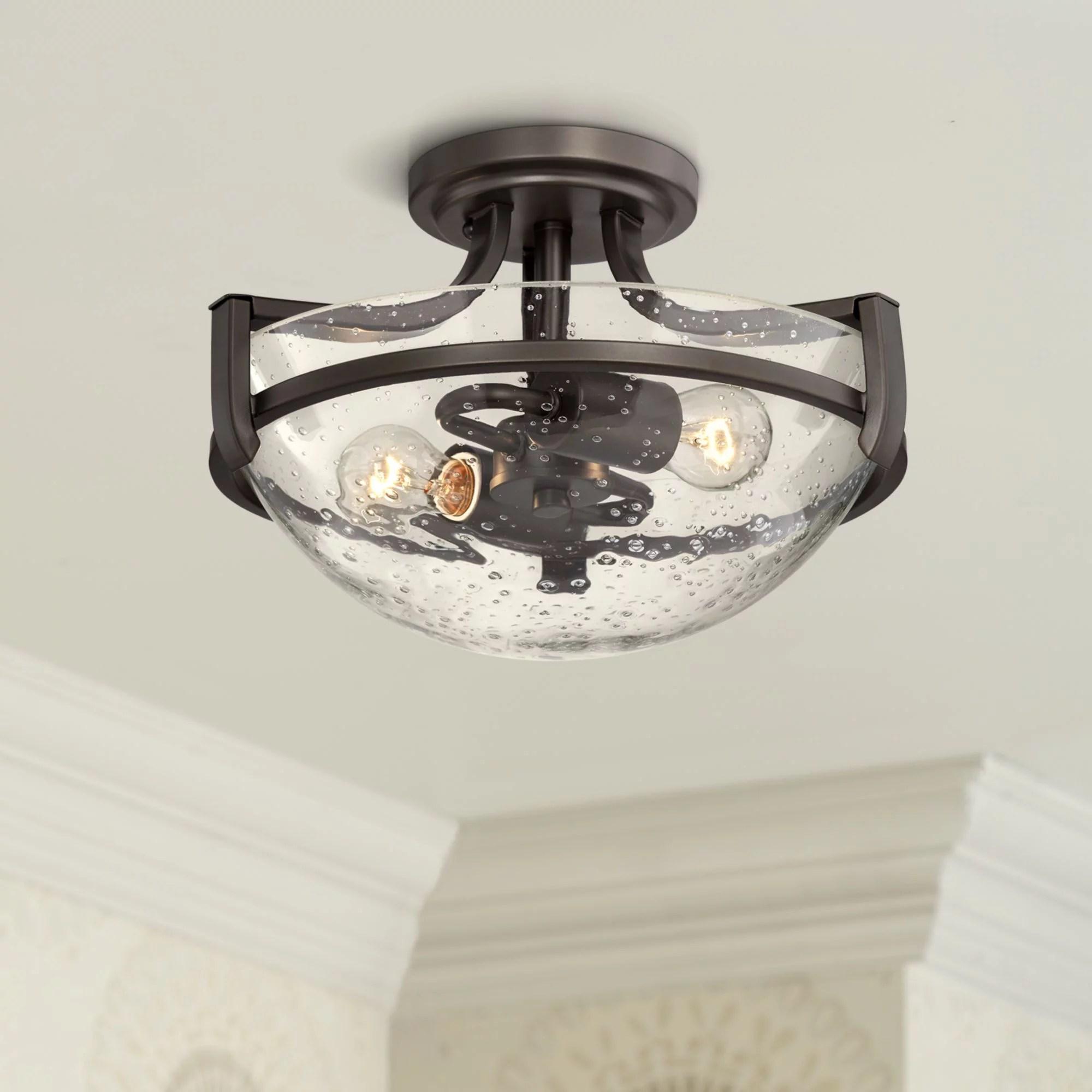 regency hill modern ceiling light semi flush mount fixture oil rubbed bronze 13 wide 2 light clear seedy glass bowl for bedroom