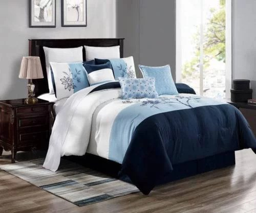 jane 7 piece comforter set cotton touch oversized embroidered bedding navy blue light blue white full size
