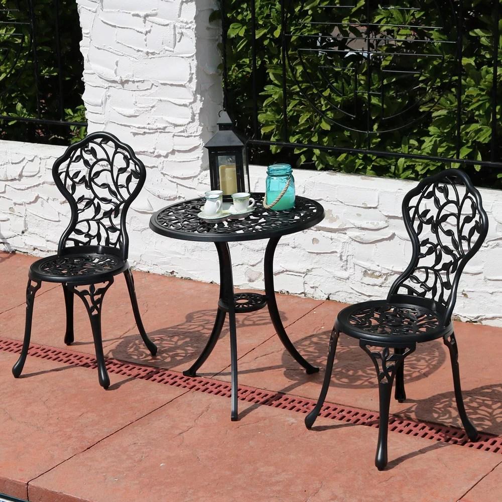 sunnydaze 3 piece outdoor garden patio furniture cast aluminum bistro set