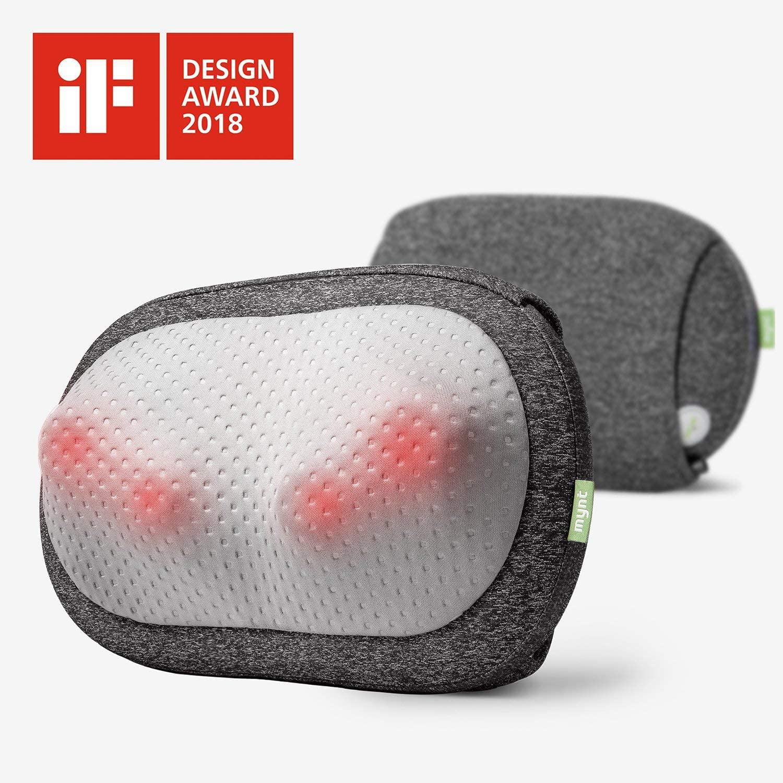 mynt cordless neck back massager shiatsu rechargeable massage pillow with heat 3d deep kneading use unplugged if design award winner