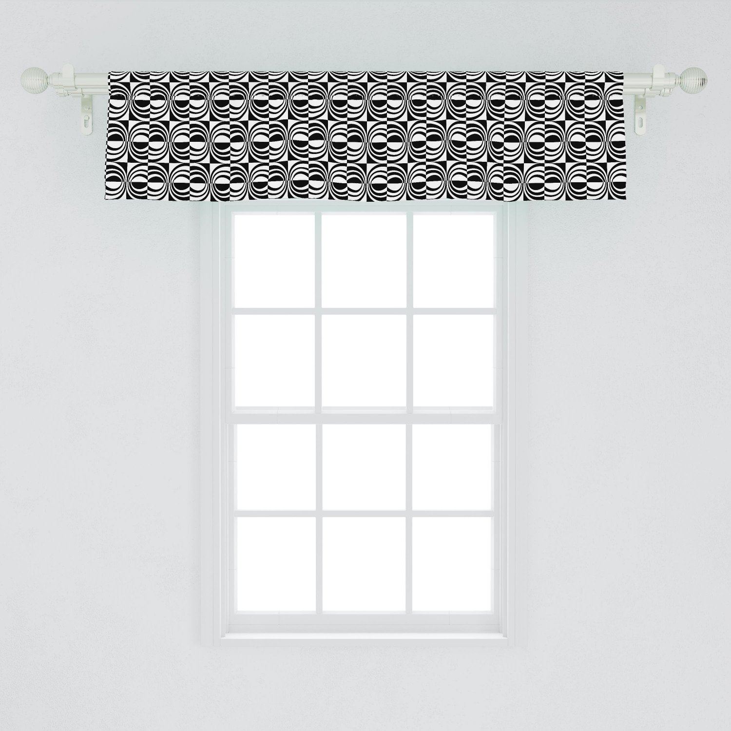 Contemporary Window Valance Checkered Pattern With Contrast Colors And Curvy Lines Modern Mosaic Curtain Valance For Kitchen Bedroom Decor With Rod Pocket By Ambesonne Walmart Com Walmart Com